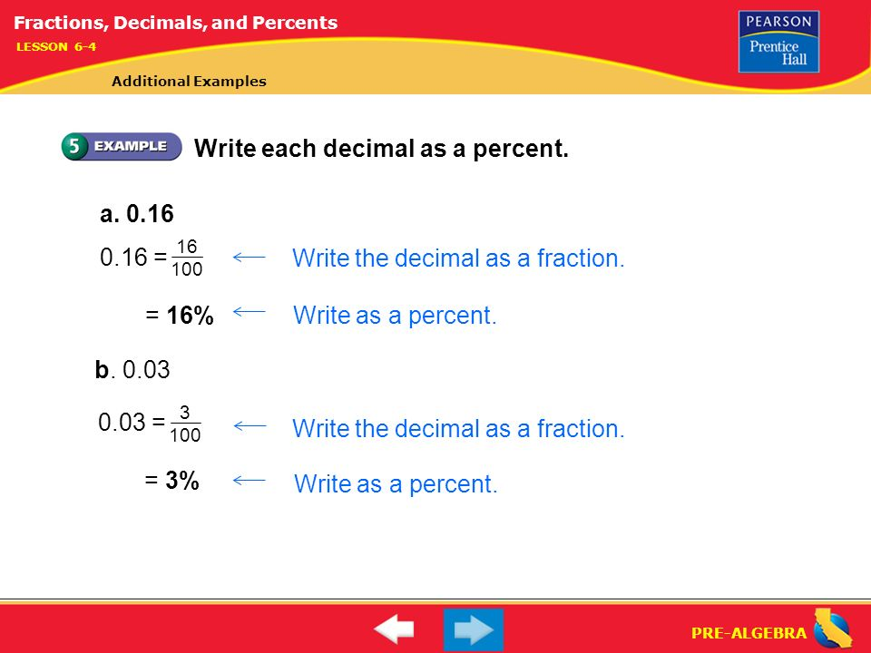 Lesson 6-4 Warm-Up. Lesson 6-4 Warm-Up Fractions, Decimals, and ...