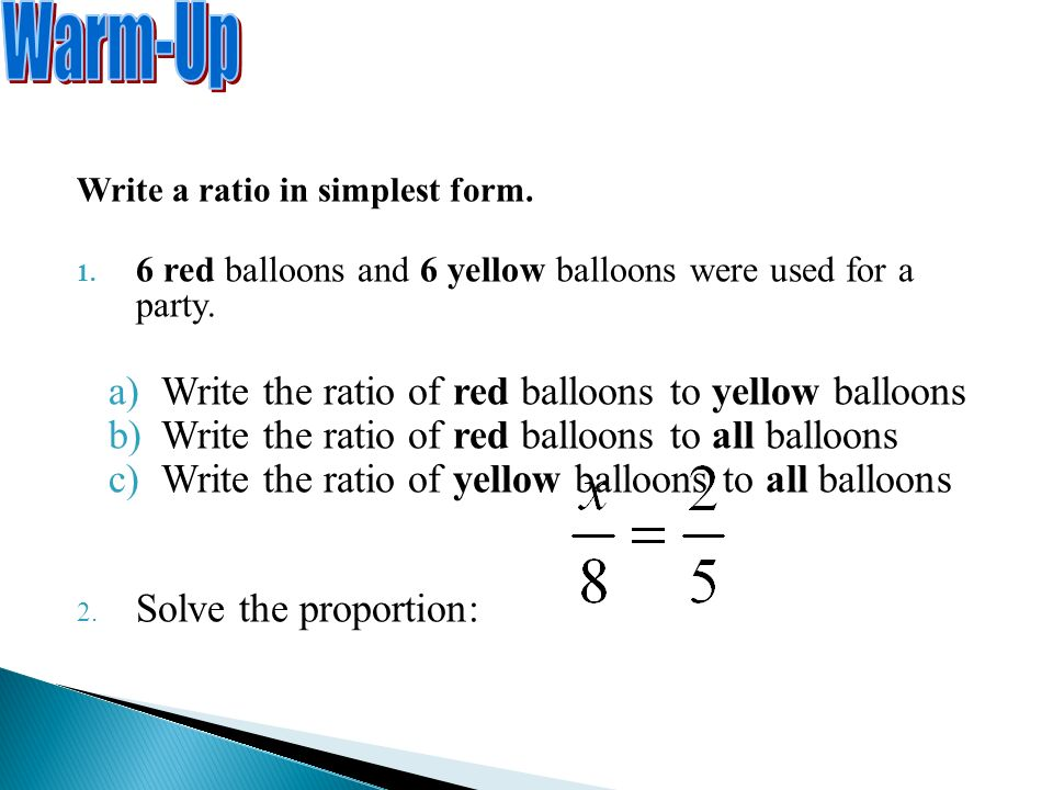 Write a ratio in simplest form