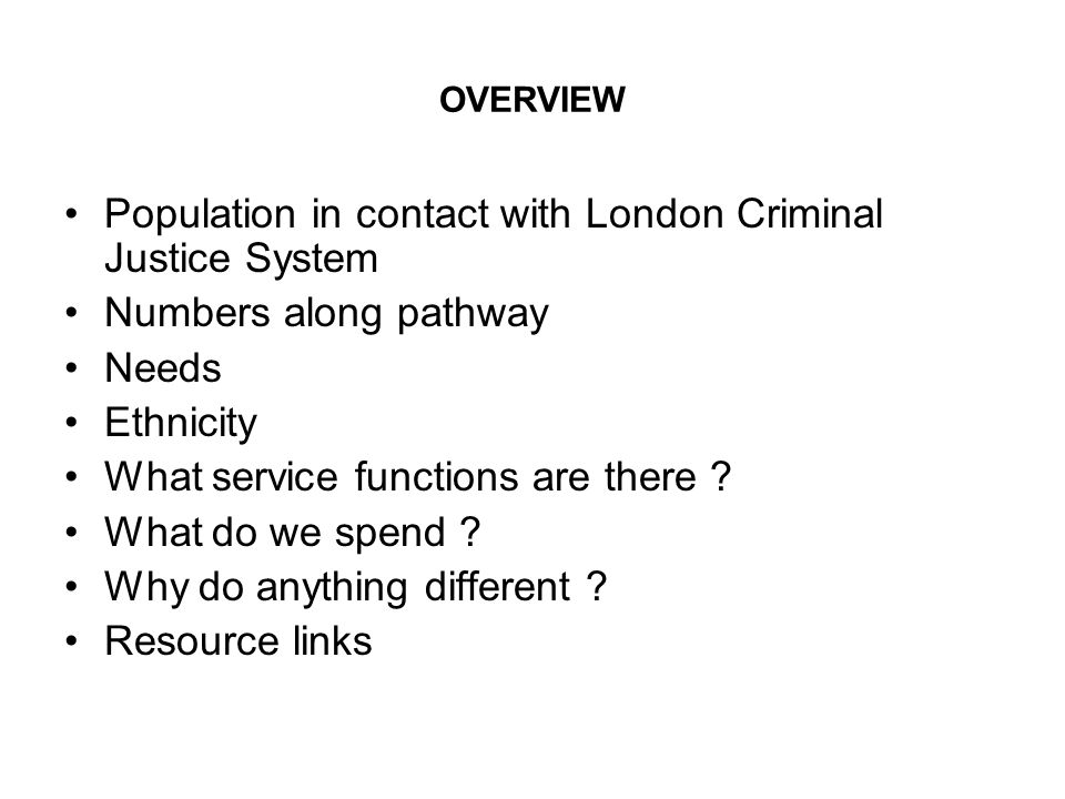 Population in contact with London Criminal Justice System
