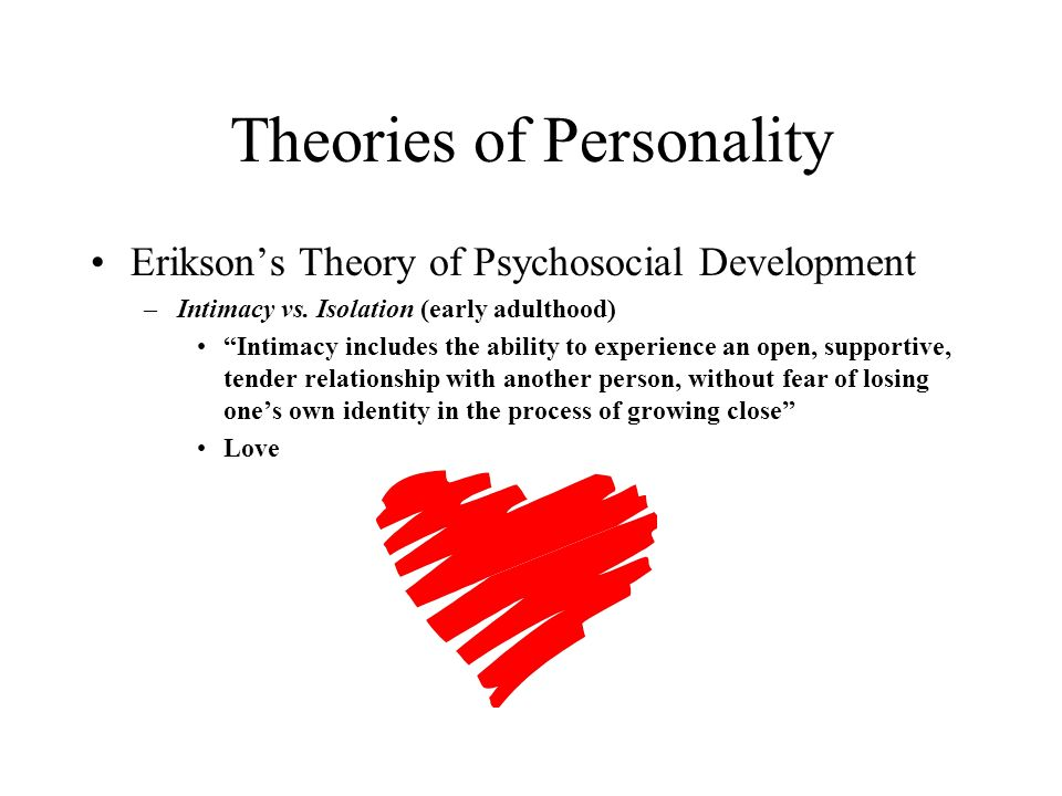 your own personality theory I base my theory on my own childhood experiences i know that my experiences and environment greatly affected and help form my personality children are continuously developing, and anything that the child witnesses makes an impression somewhere within.