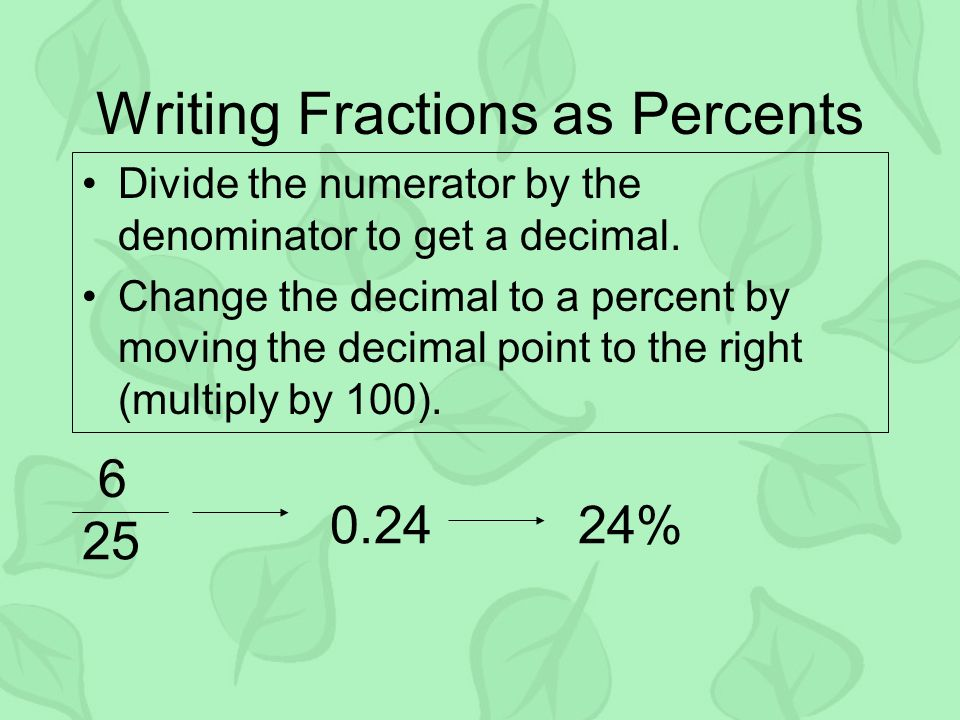 writing percents as fractions Fraction decimal percent  common fractions with decimal and percent  equivalents  converting fractions, decimals, and percents math tables and.