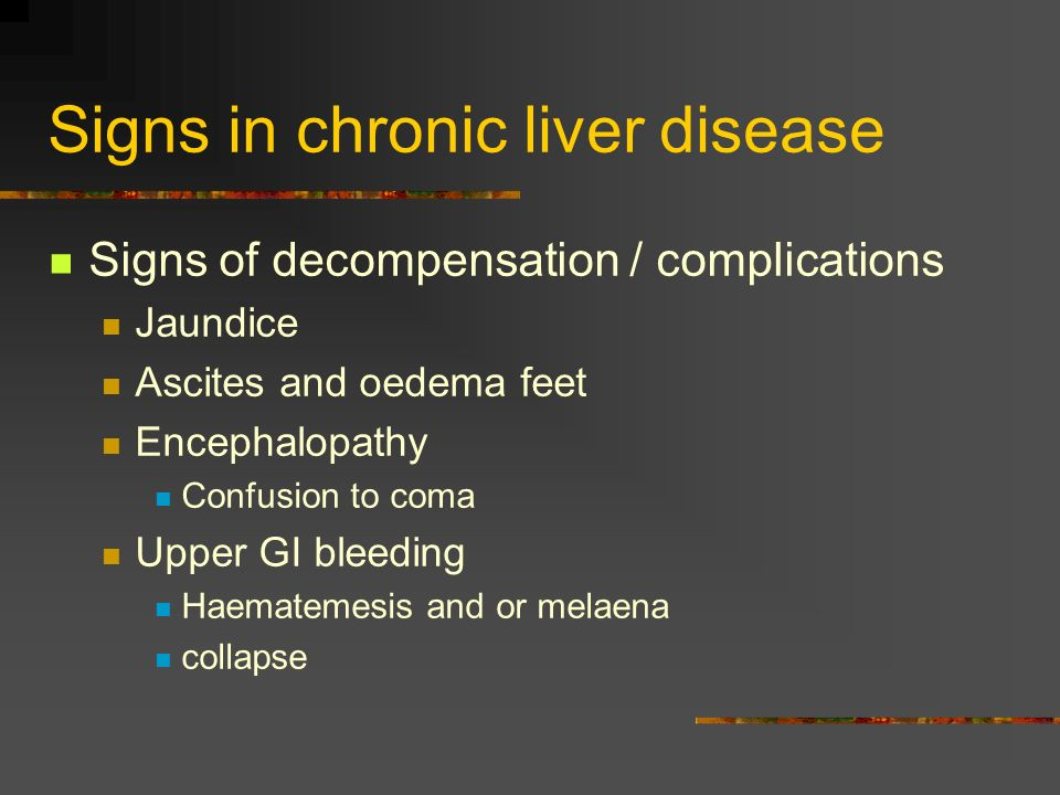 Signs in chronic liver disease