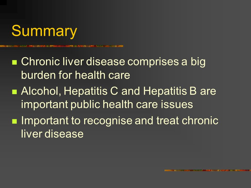 Summary Chronic liver disease comprises a big burden for health care
