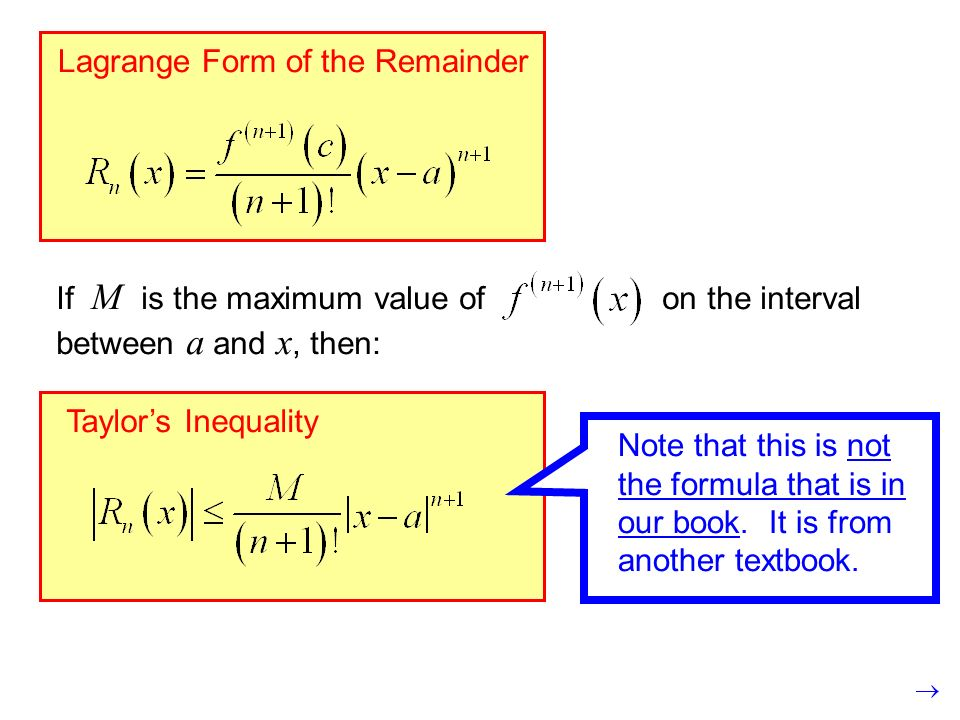 9.3 Taylor's Theorem: Error Analysis for Series - ppt download