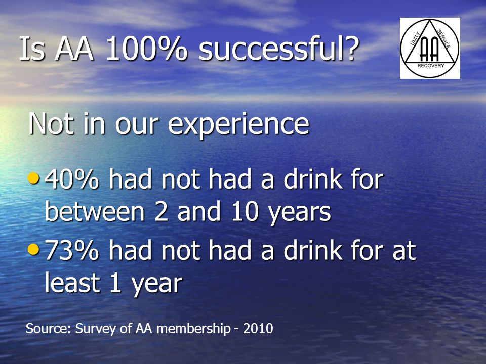 Is AA 100% successful Not in our experience