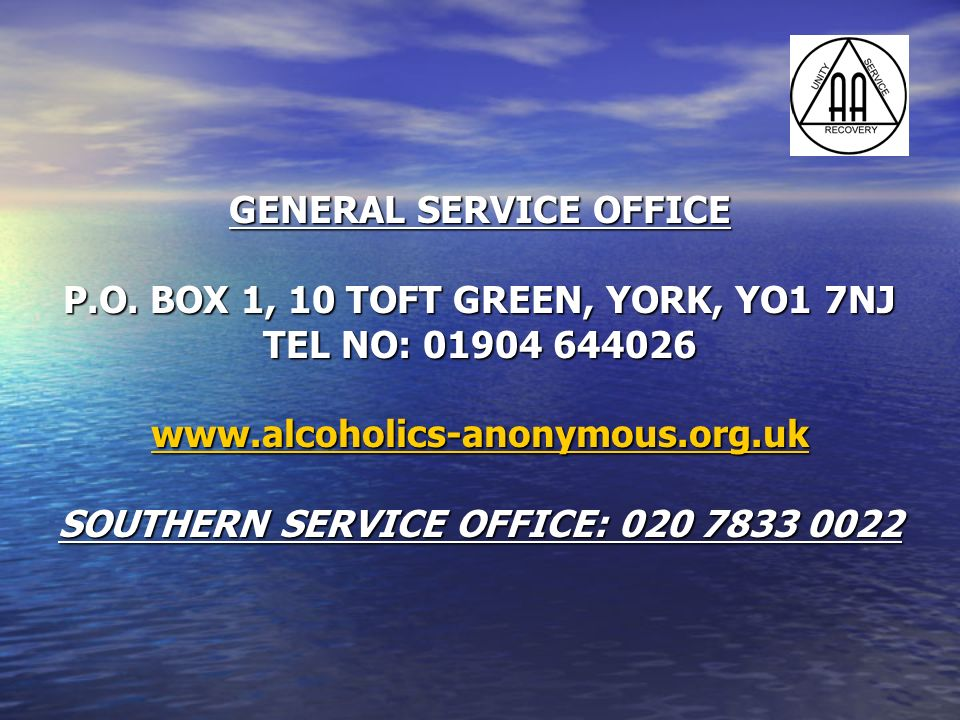 GENERAL SERVICE OFFICE P.O. BOX 1, 10 TOFT GREEN, YORK, YO1 7NJ