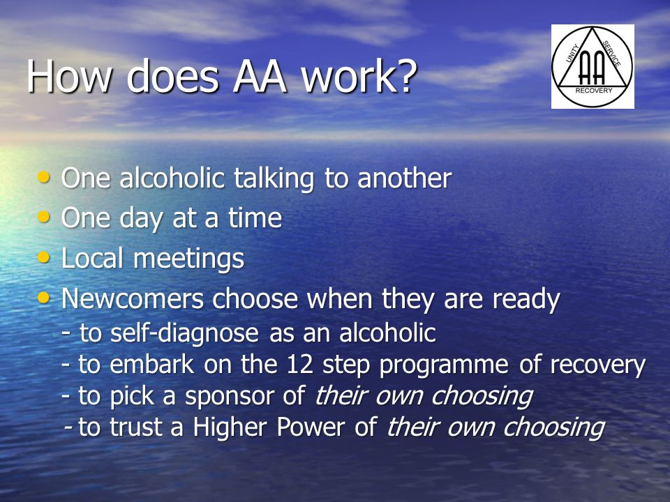 How does AA work One alcoholic talking to another One day at a time