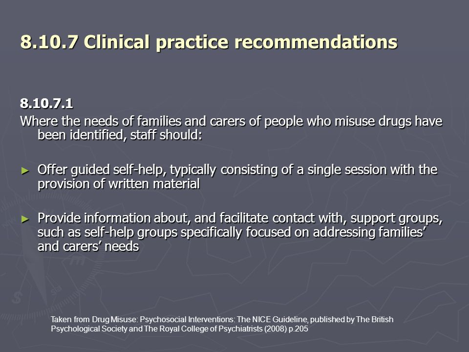 8.10.7 Clinical practice recommendations