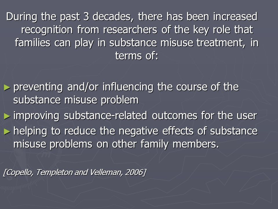 improving substance-related outcomes for the user