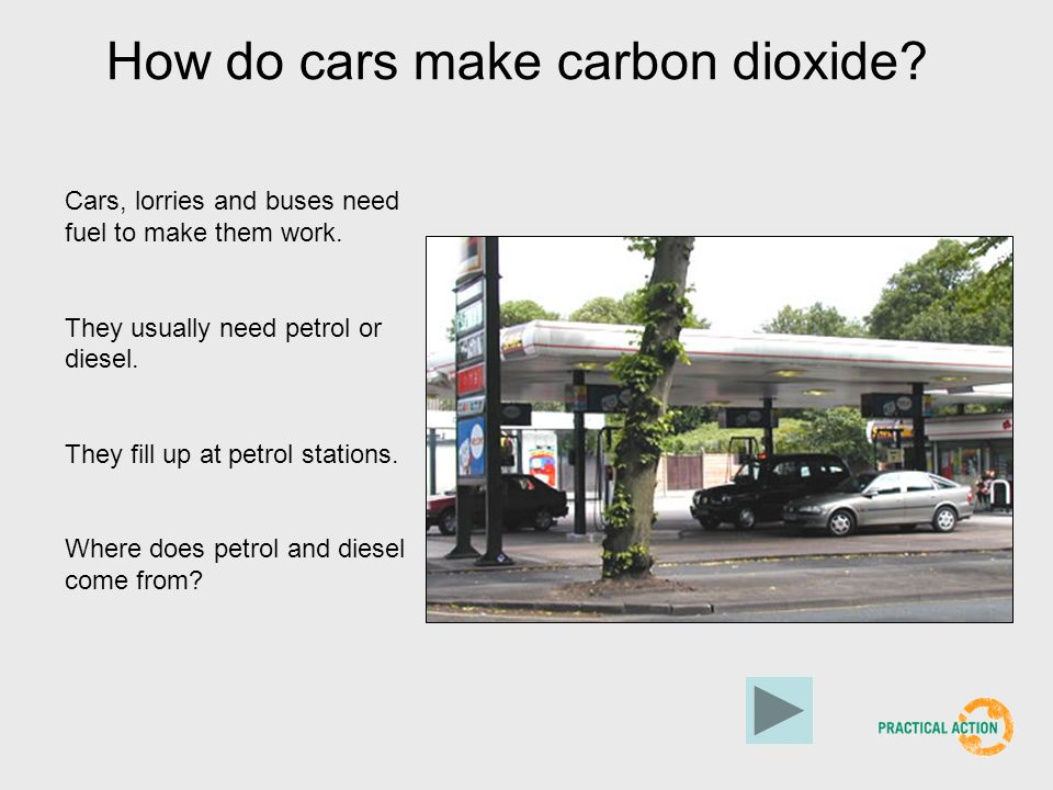 How do cars make carbon dioxide