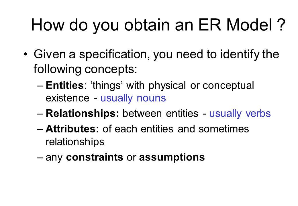How do you obtain an ER Model