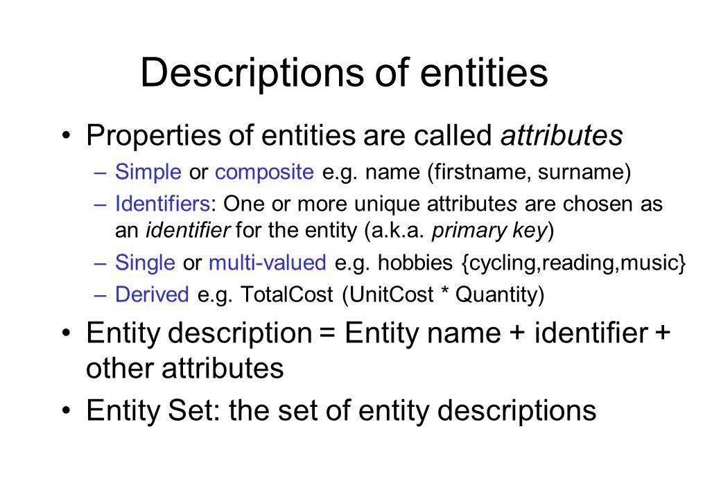 Descriptions of entities