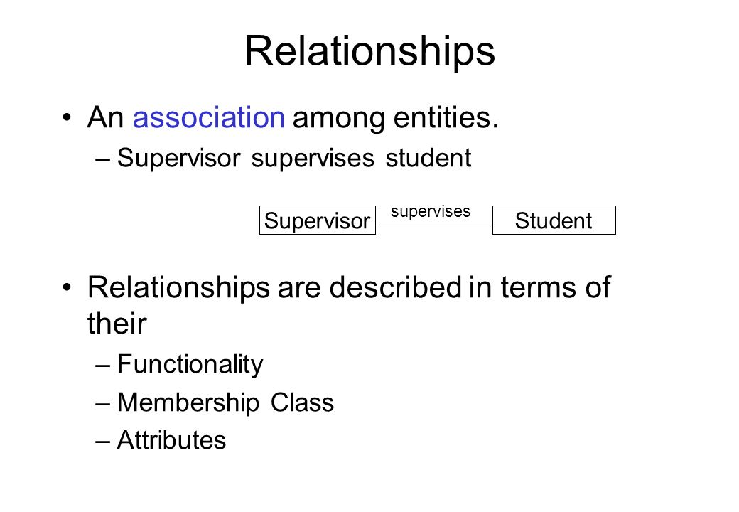 Relationships An association among entities.