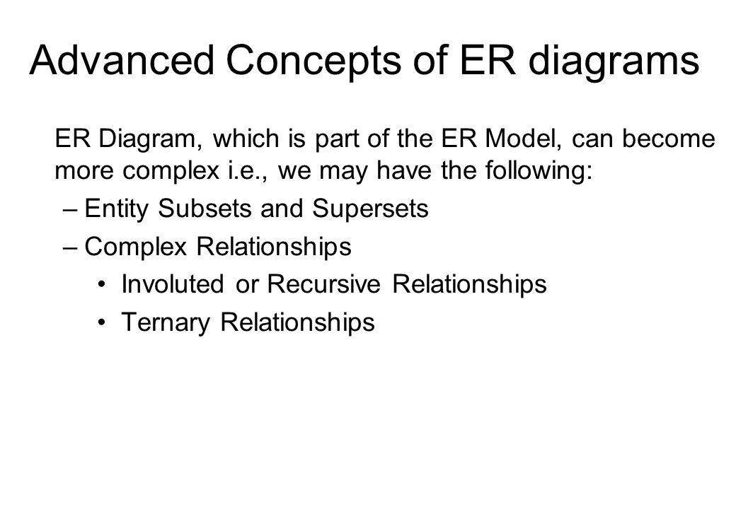 Advanced Concepts of ER diagrams