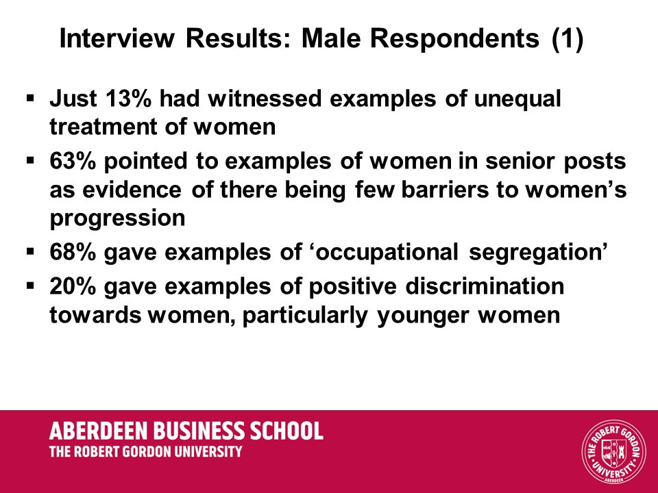 Interview Results: Male Respondents (1)
