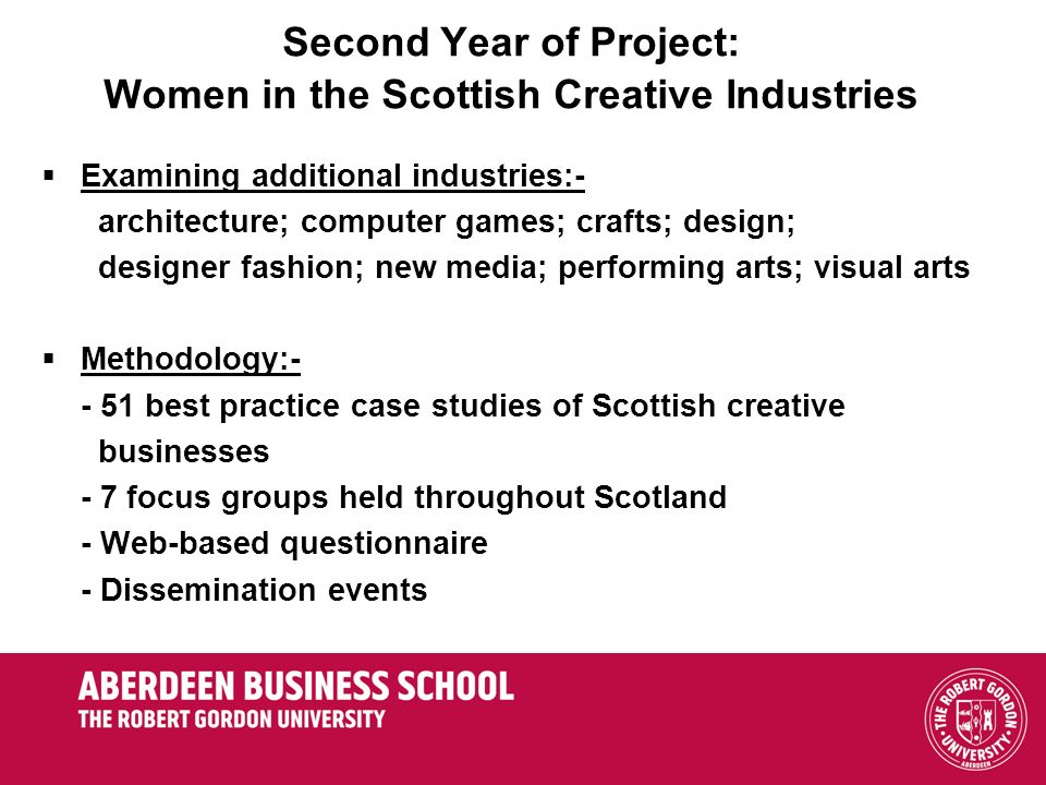 Second Year of Project: Women in the Scottish Creative Industries