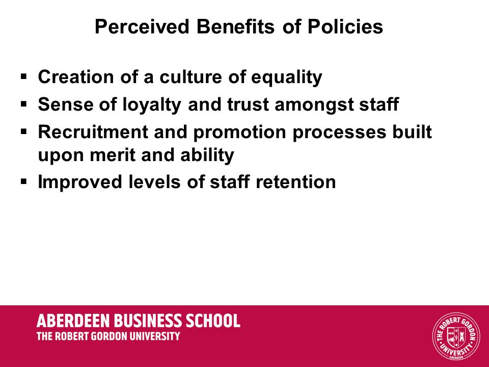 Perceived Benefits of Policies