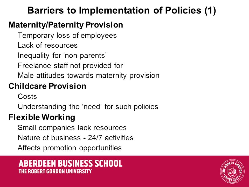 Barriers to Implementation of Policies (1)