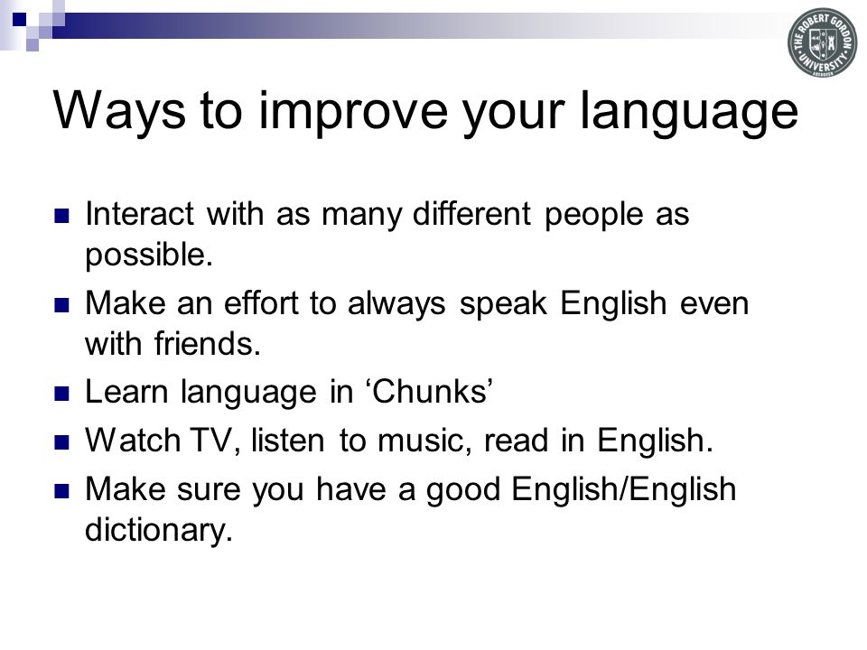 Ways to improve your language
