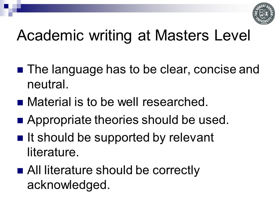 Writing at masters level for PGCE