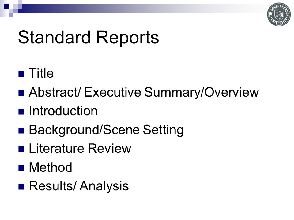 Standard Reports Title Abstract/ Executive Summary/Overview