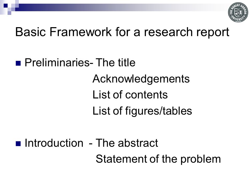 Basic Framework for a research report