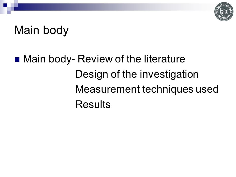 Main body Main body- Review of the literature
