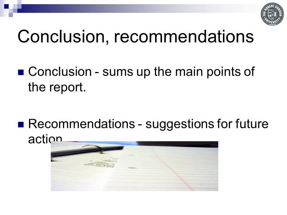 Conclusion, recommendations