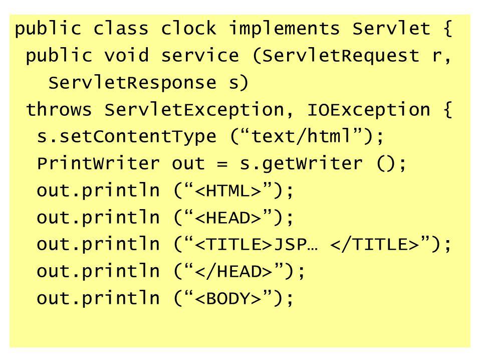 public class clock implements Servlet {
