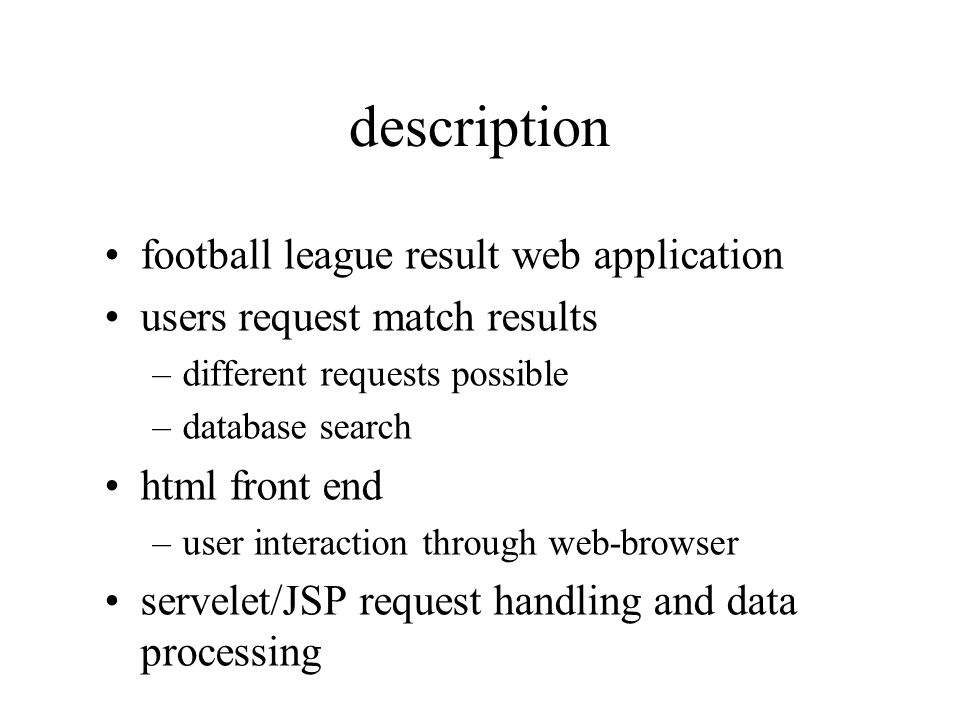description football league result web application
