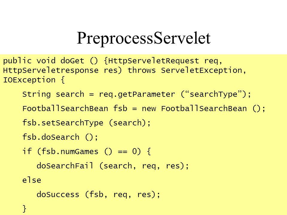 PreprocessServelet public void doGet () {HttpServeletRequest req, HttpServeletresponse res) throws ServeletException, IOException {