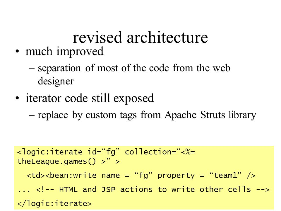 revised architecture much improved iterator code still exposed