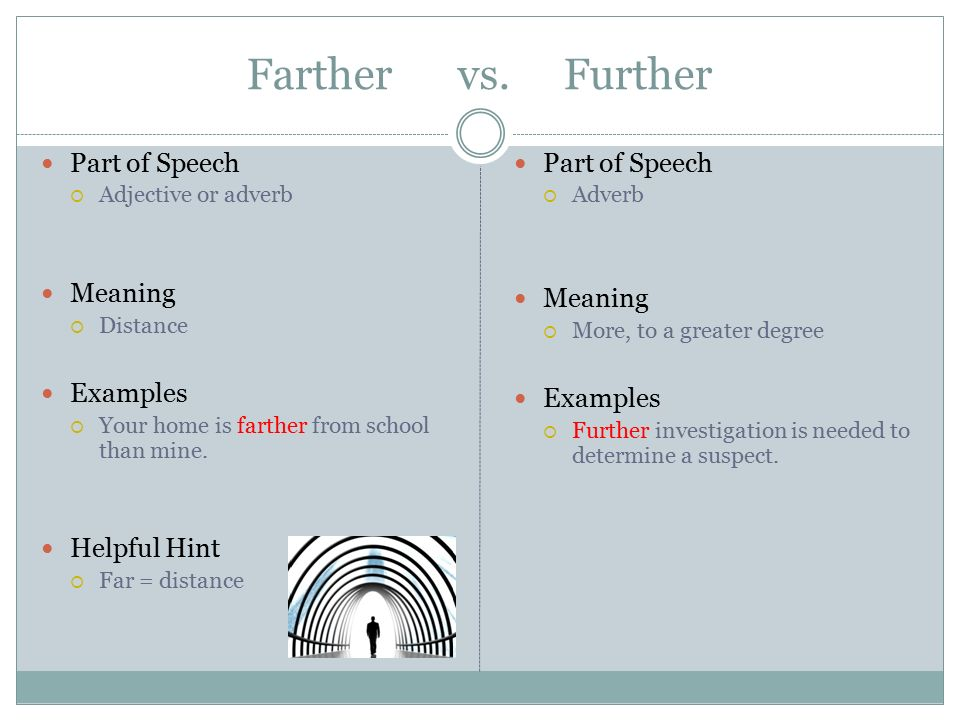 farther vs further examples