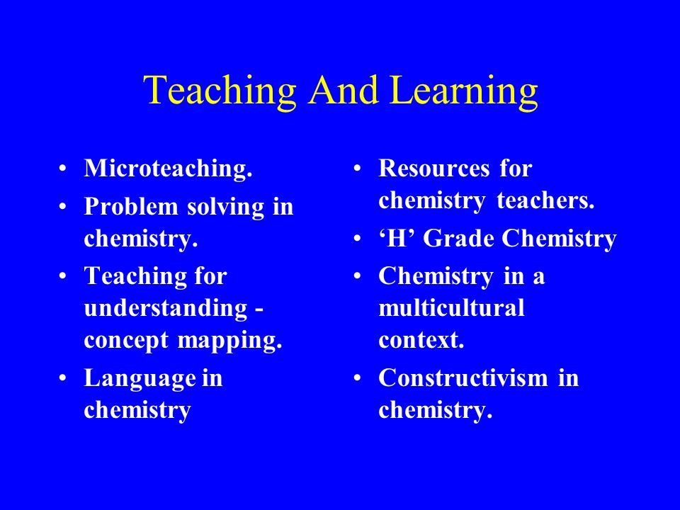 Teaching And Learning Microteaching. Problem solving in chemistry.