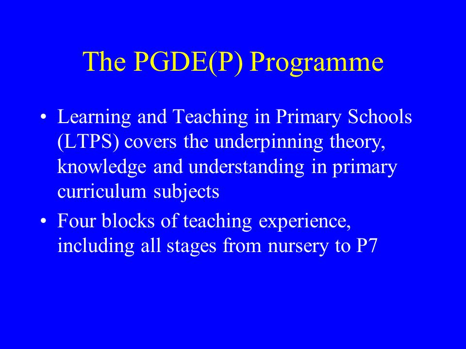 The PGDE(P) Programme
