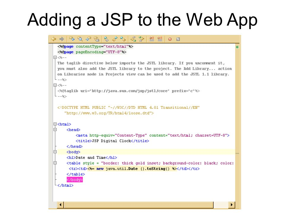 Adding a JSP to the Web App