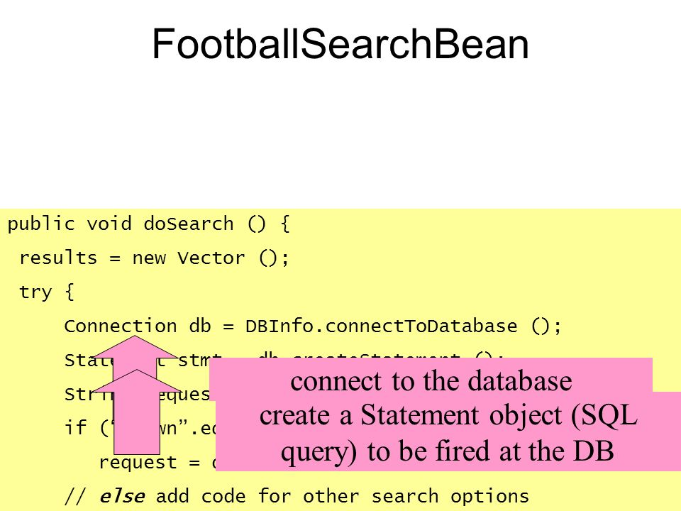 FootballSearchBean connect to the database