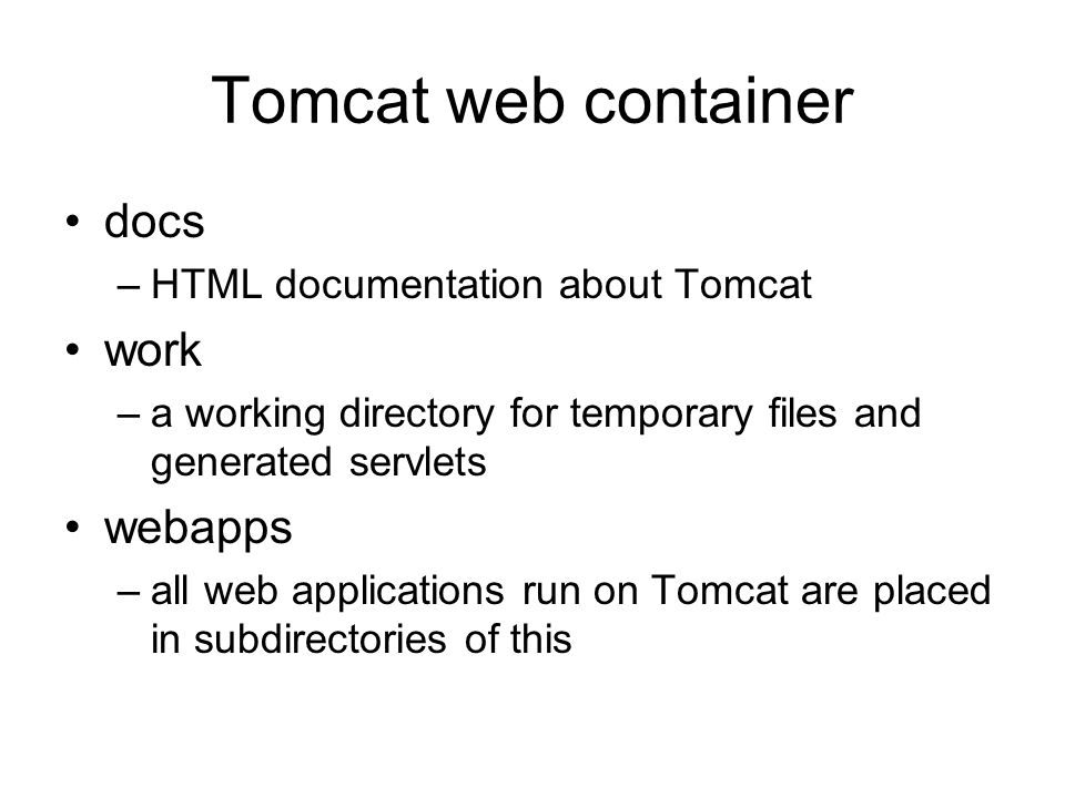 Tomcat web container docs work webapps HTML documentation about Tomcat