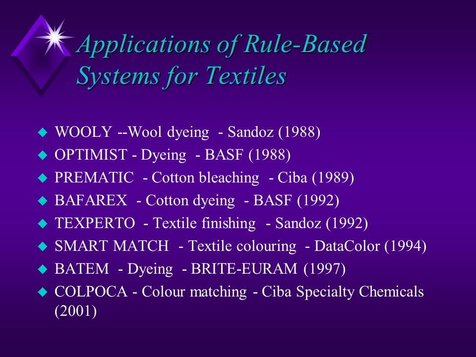 Applications of Rule-Based Systems for Textiles