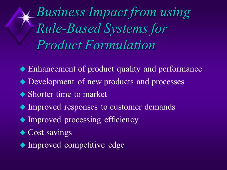 Business Impact from using Rule-Based Systems for Product Formulation