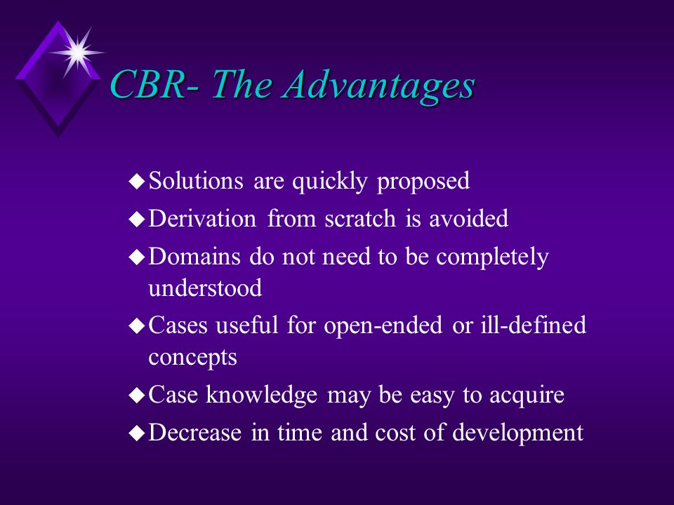 CBR- The Advantages Solutions are quickly proposed