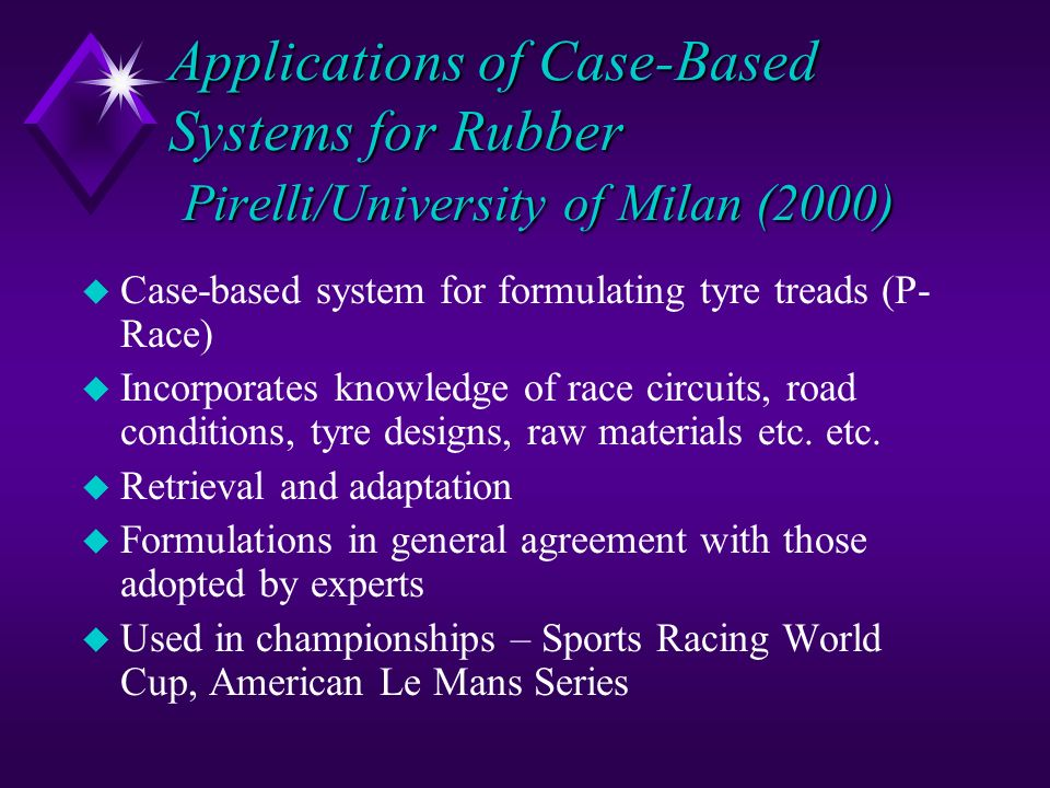 Applications of Case-Based Systems for Rubber Pirelli/University of Milan (2000)