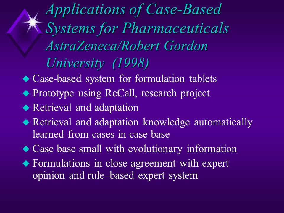 Applications of Case-Based Systems for Pharmaceuticals AstraZeneca/Robert Gordon University (1998)