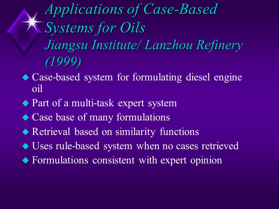 Applications of Case-Based Systems for Oils Jiangsu Institute/ Lanzhou Refinery (1999)