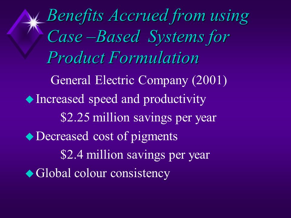 Benefits Accrued from using Case –Based Systems for Product Formulation
