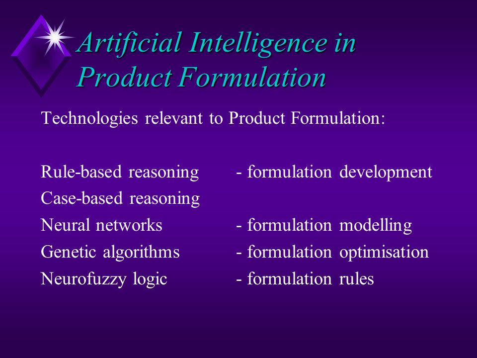 Artificial Intelligence in Product Formulation