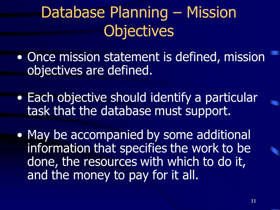 Database Planning – Mission Objectives