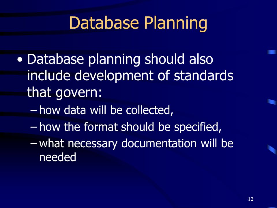 Database Planning Database planning should also include development of standards that govern: how data will be collected,