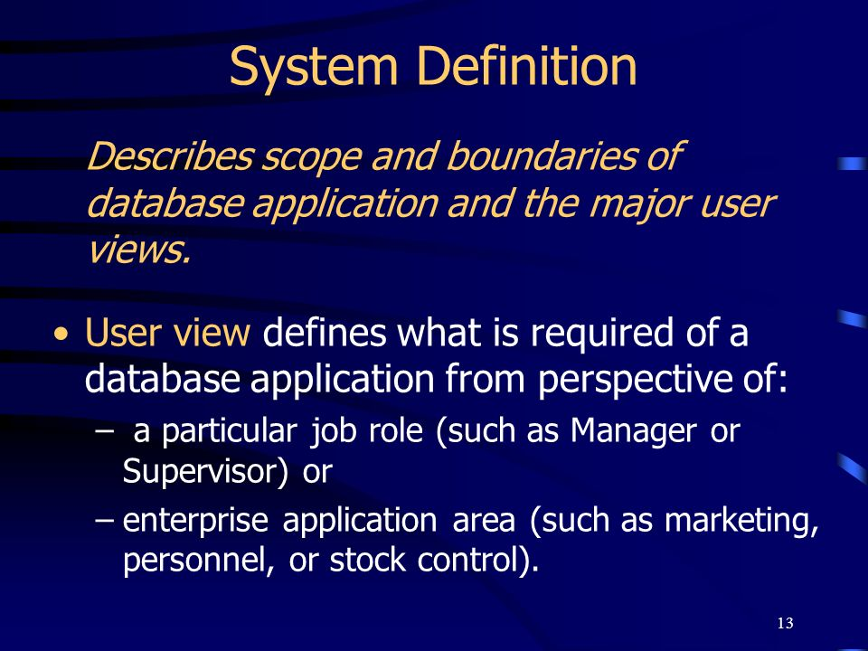 System DefinitionDescribes scope and boundaries of database application and the major user views.