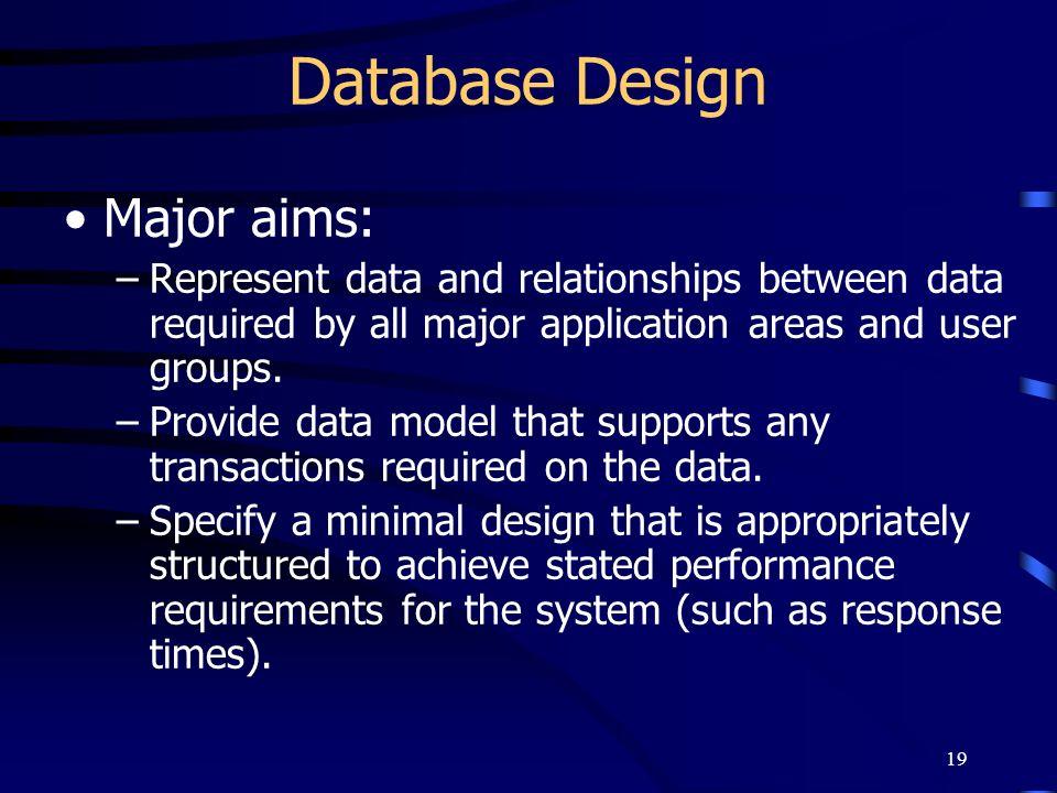 Database Design Major aims: